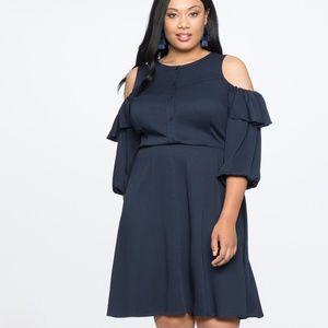 Elloqui Navy Blue Cold-Shoulder Dress Size: 20